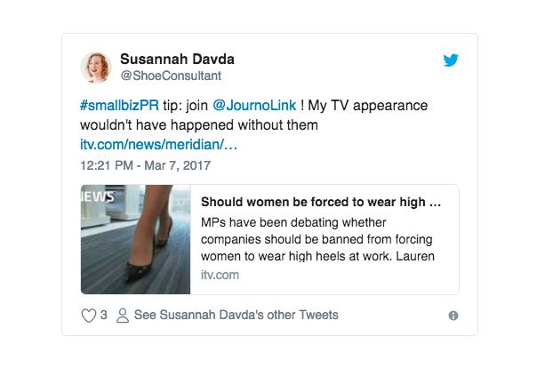 tweet success story shoeconsultant journolink